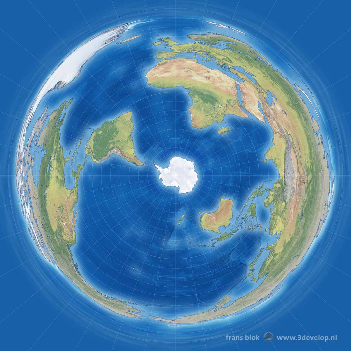 A world map according to the Antarctic or Penguin projection, with the southpole in the middle and increasingly dramatic distortions towards the north