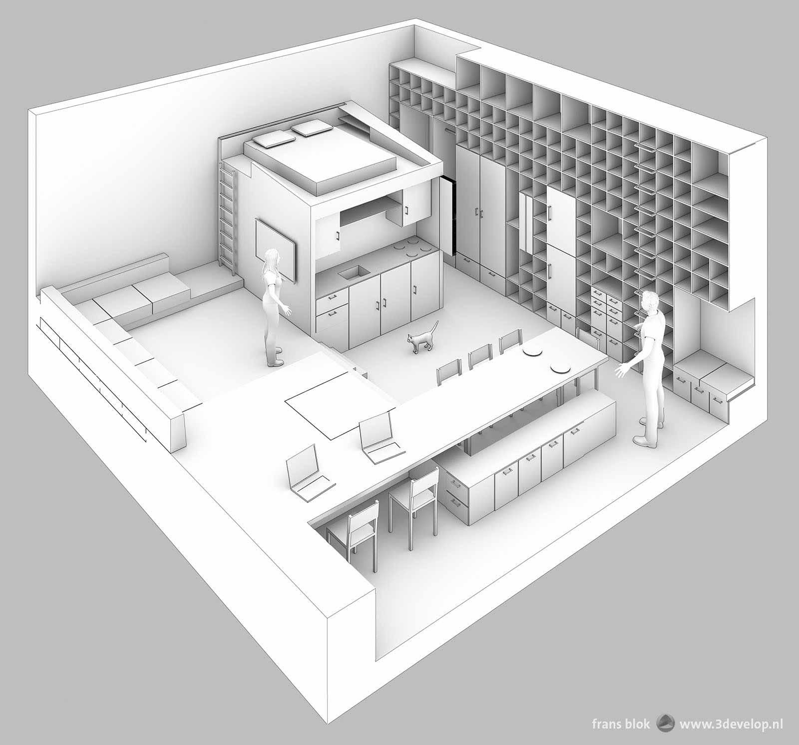 Axonometrische artist impression van een condo; zicht schuin van boven op een compact stedelijk appartement.