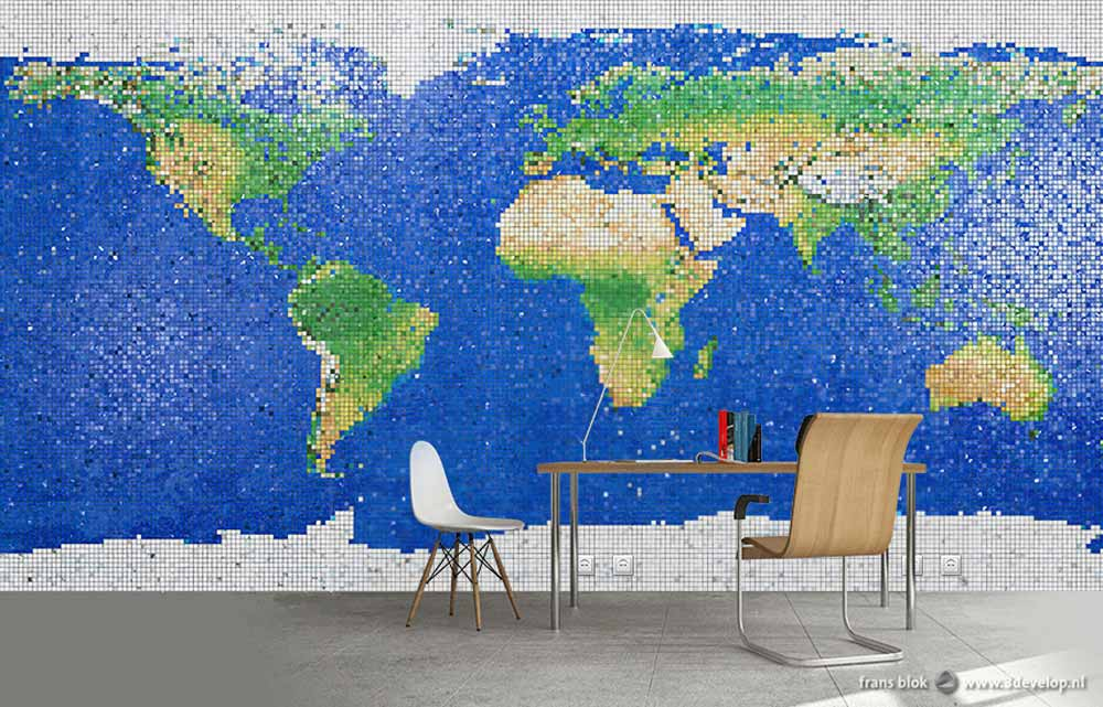 World map of colored mosaic tiles in a grid, applied as wallpaper in a room with chairs and a desk.