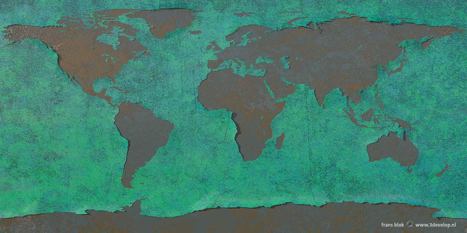 Oude muur met afbladderende blauwgroene verf met daarin de continenten uitgespaard.