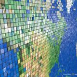 Perspective image of a world map made of 30.000 mosaic tiles, zooming in on North America, with the other continents in the distance distance.