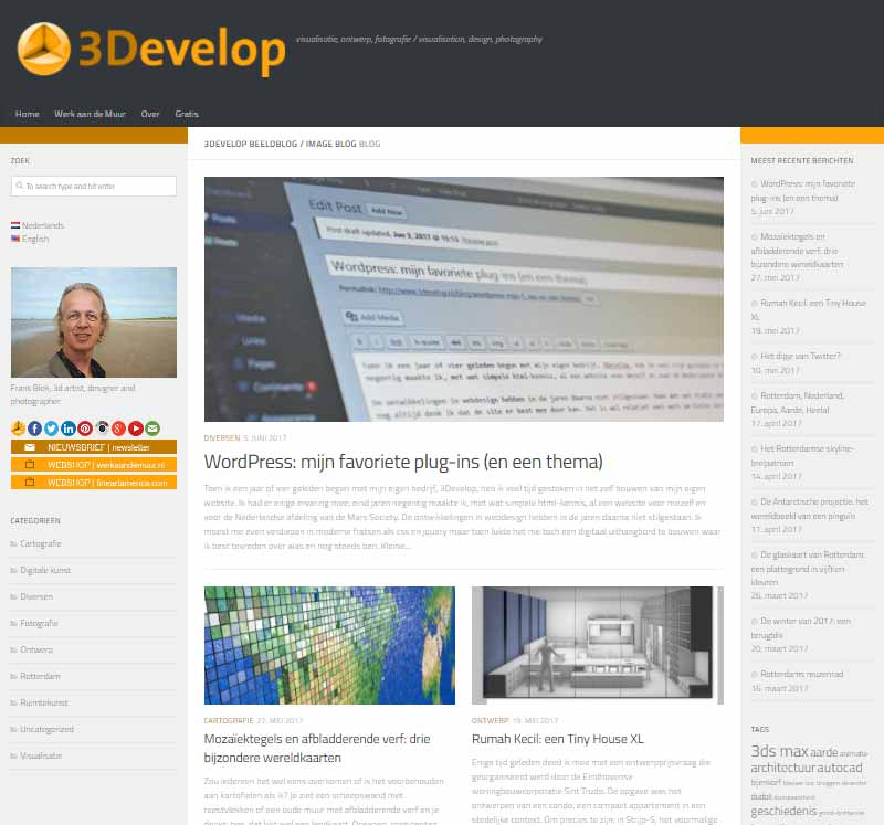 Screenshot of the 3Develop image blog, made in WordPress, using the Hueman theme