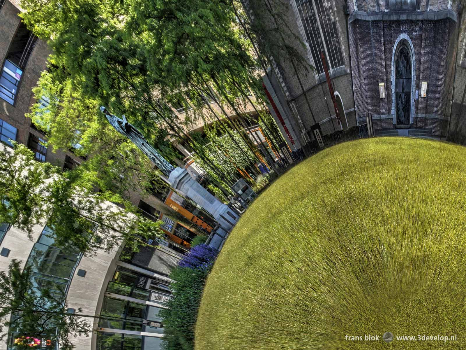 The Erasmus statue in Rotterdam on a spherical panorama of the park/square in front of Saint Lawrence's Church.