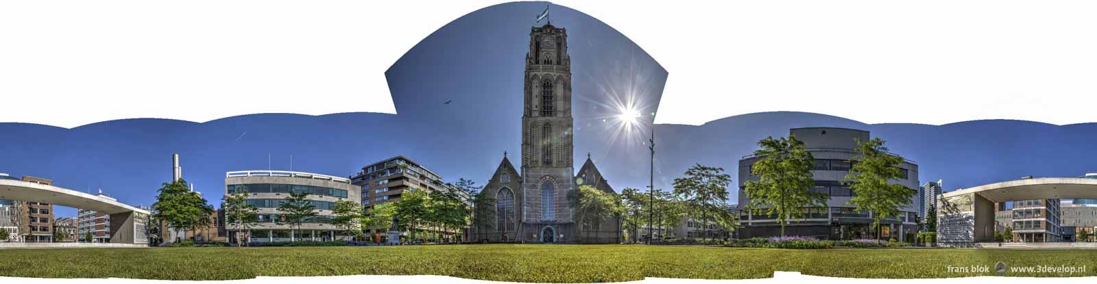 Twelve photos made at the park/square in front of Saint Lawrence's Church in Rotterdam, stitched together with Photomerge in Photoshop in a 360 degrees panorama