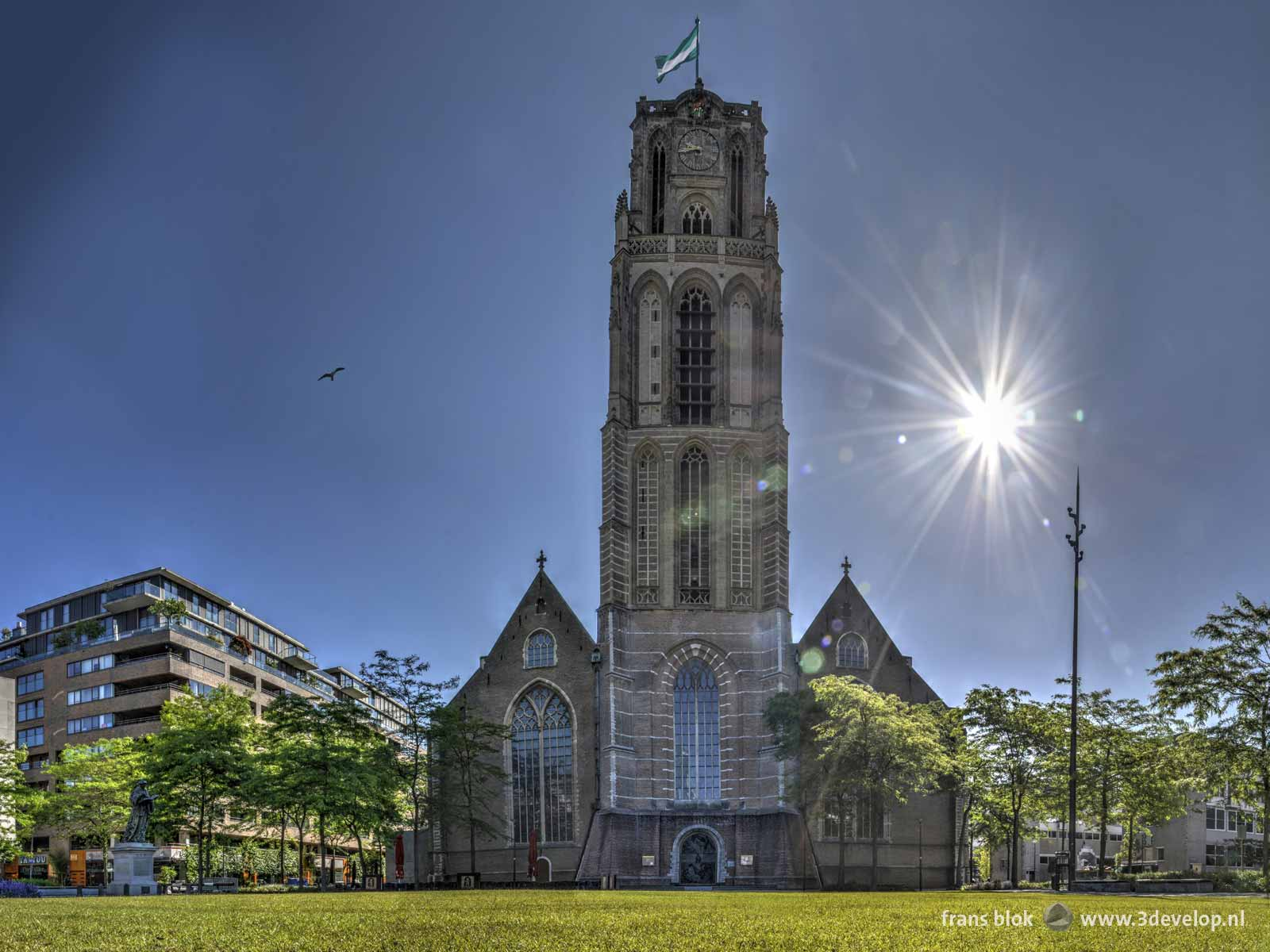 Photo of the redecorated square in front of Saint Lawrence's church in Rotterdam on a sunny morning in June