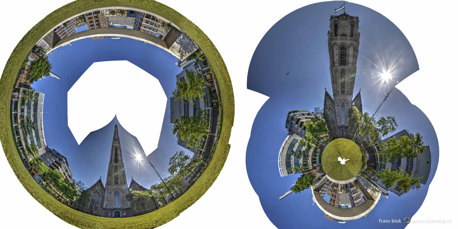 Rough versions of a tubular and spherical panorama of the park near Saint-Lawrence's Church in Rotterdam