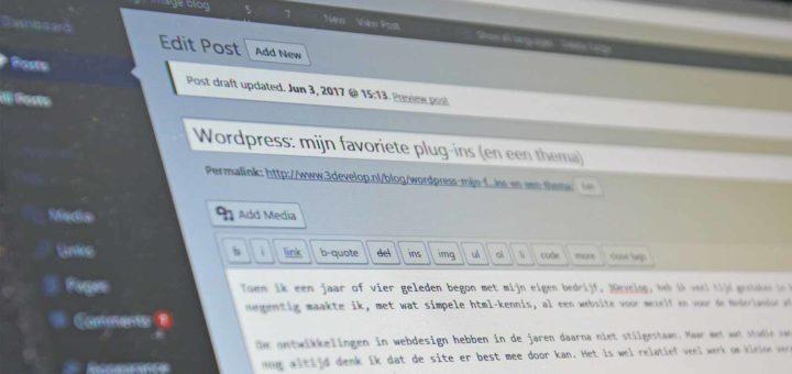Screenshot van het dashboard van WordPress met daarop een blogpost in ontwikkeling over WordPress-plugins
