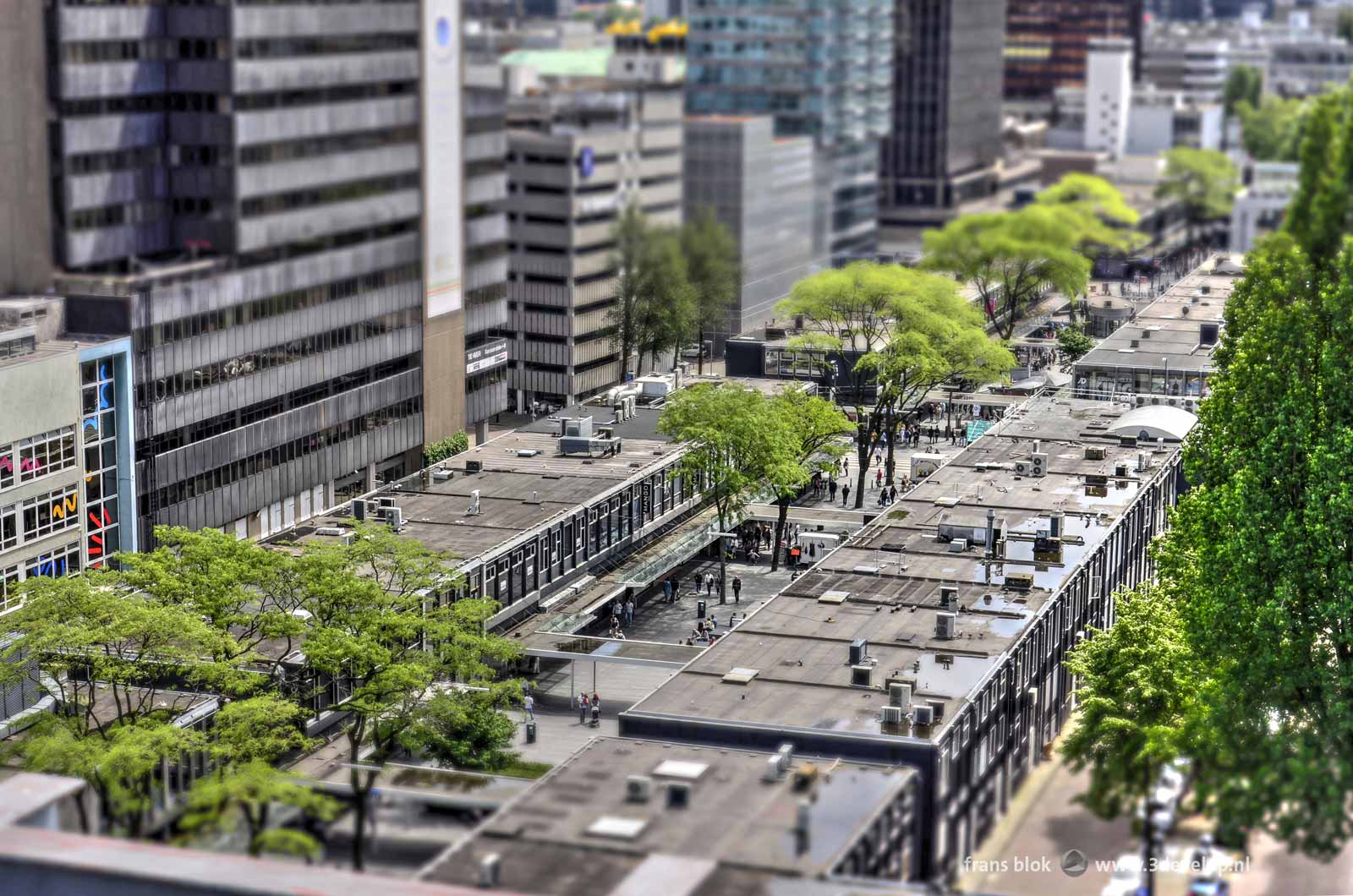 The Miniworld or Madurodam effect on a photo of the Lijnbaan shopping mall in Rotterdam made during the Rotterdam Rooftop Days