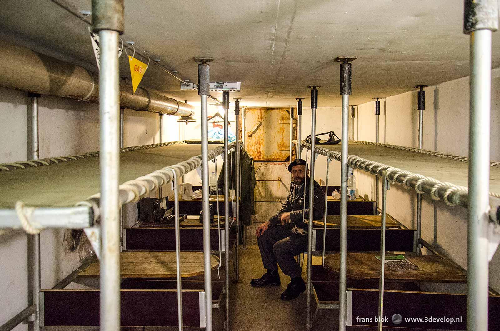 De atoomschuilkelder onder het Museumpark in Rotterdam, gebouwd tijdens de Koude Oorlog, met plaats voor 50 mensen.