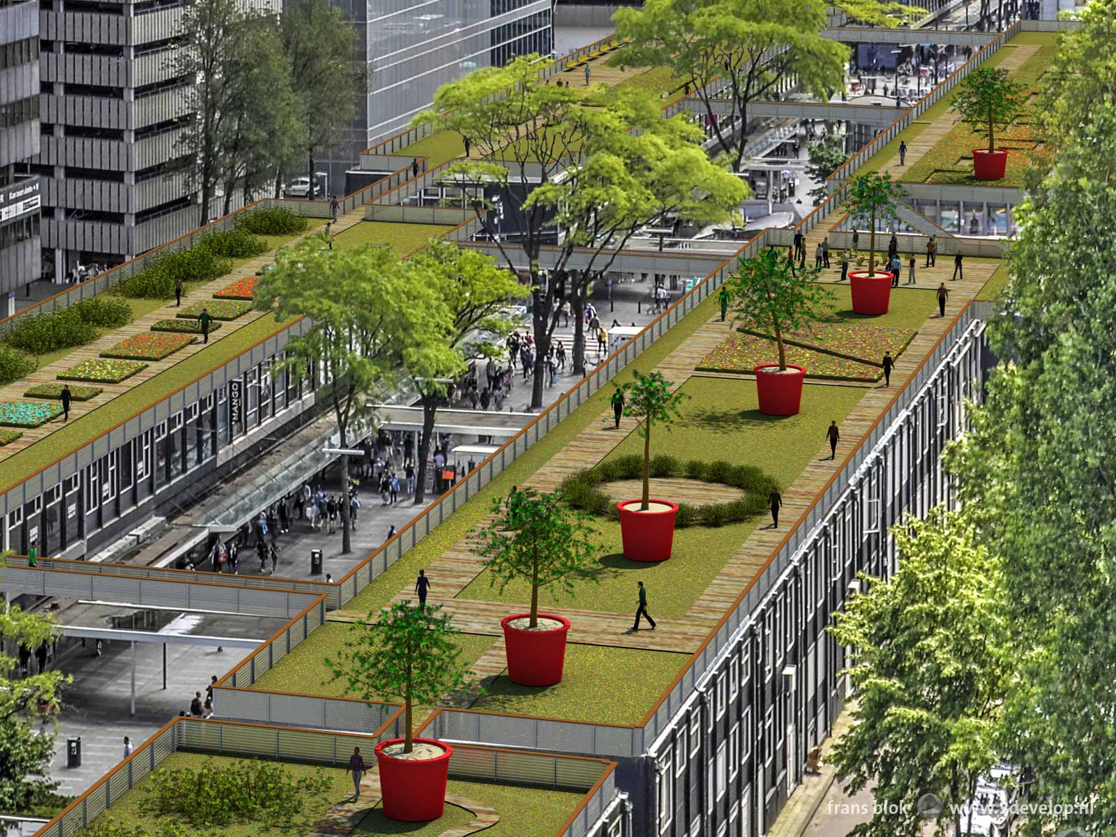 Detail of an artist impression of the High Line Baan, roof park at Lijnbaan in Rotterdam