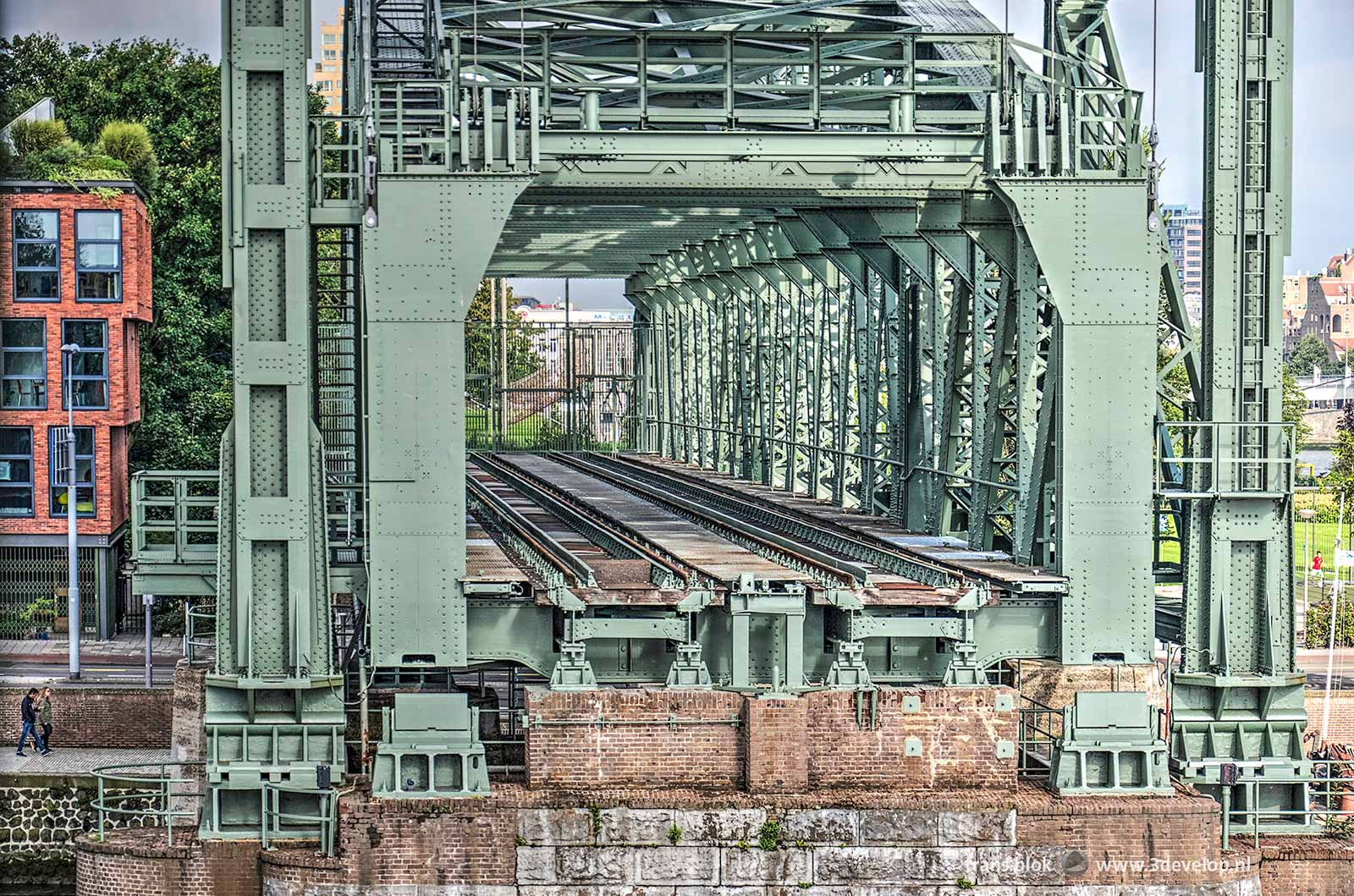 The northern section of monumental railway bridge De Hef in Rotterdam, seen from the southern tower, during Open Monuments Day 2017