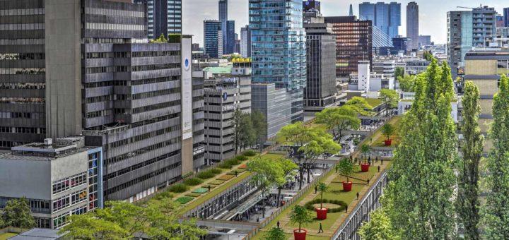 Artist impression van de High Line Baan, een park op de daken van de Lijnbaan in Rotterdam
