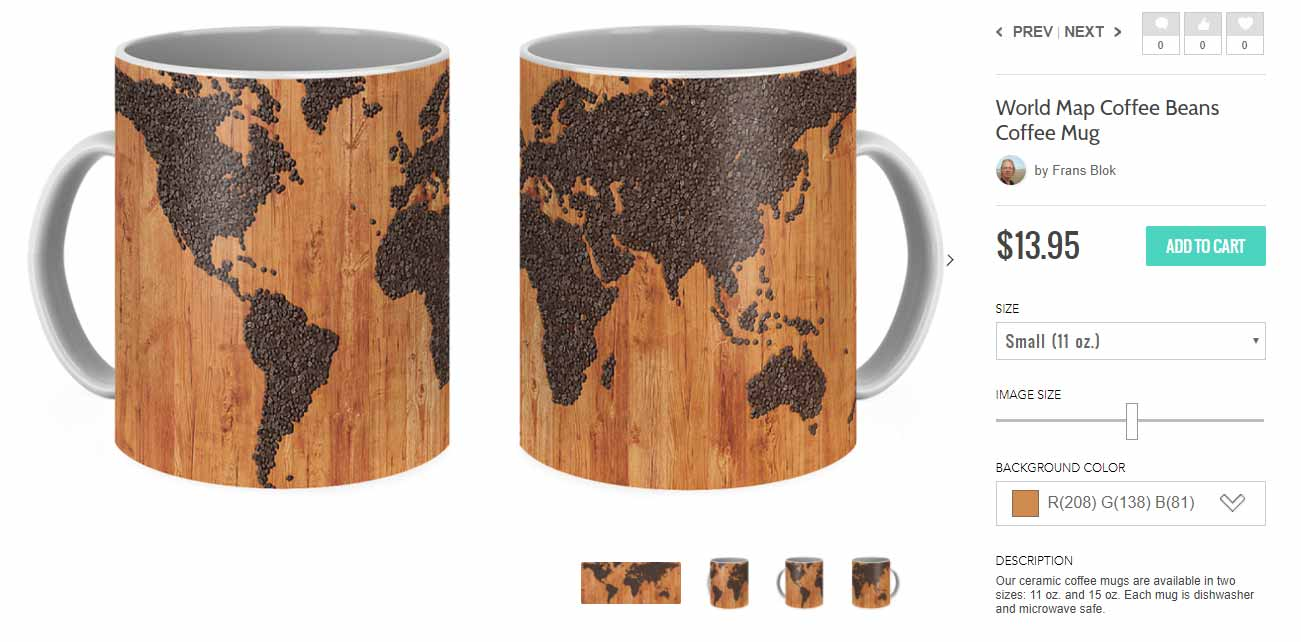 Koffie mug with a print of a world map made of coffee beans on a wooden table