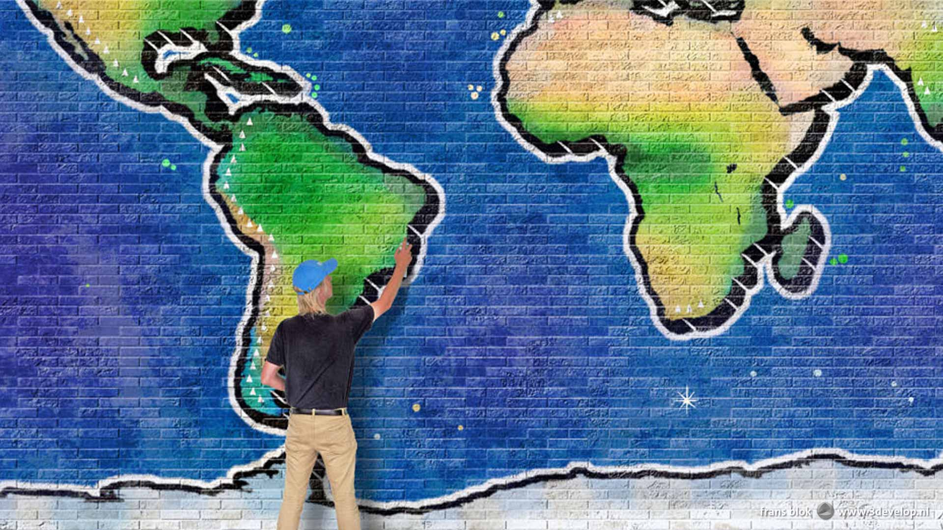 Work in progress by the author on a digital graffiti world map on a wall of ten by five metres