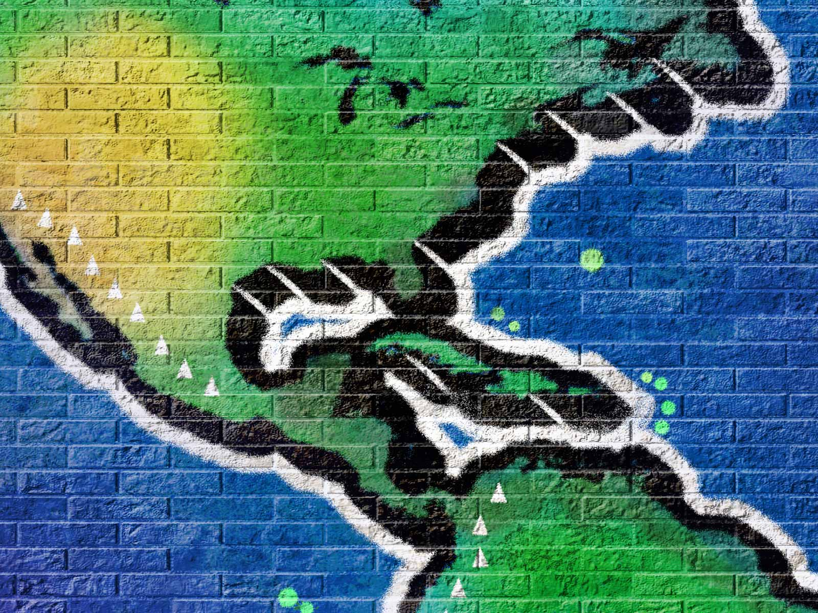 Detail of a virtual graffiti world map showing the Caribean and part of North and South America