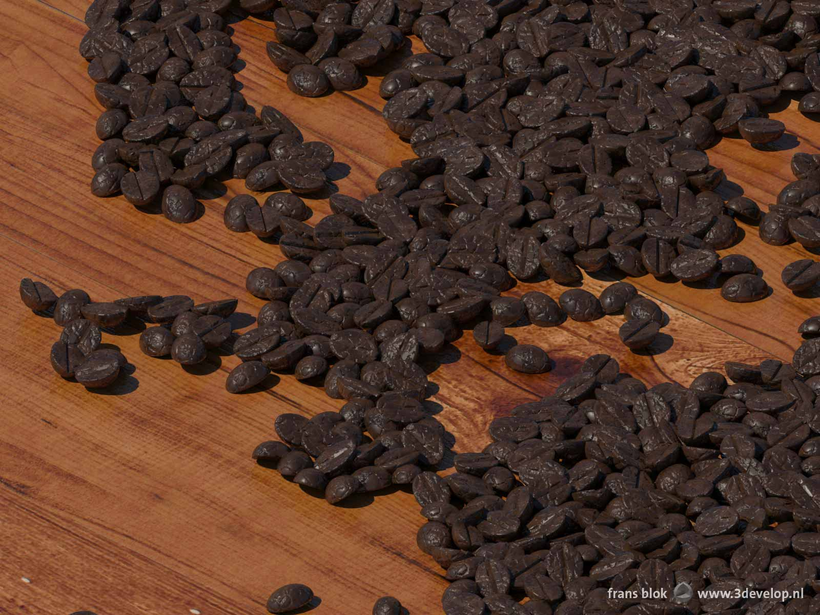 Detail image of a digital world map made of coffee beans on a wooden table