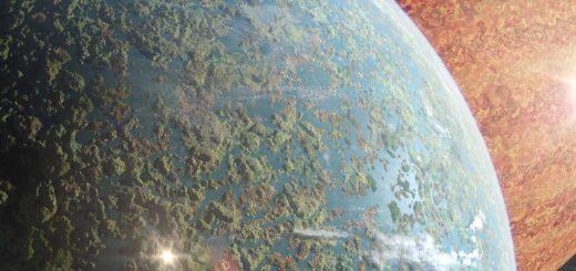 Space art, met op de voorgrond de aardachtige planeet Alice met een wonderlijk landschap vol eilanden en meren en op de achtergrond de gasreus Goliath.