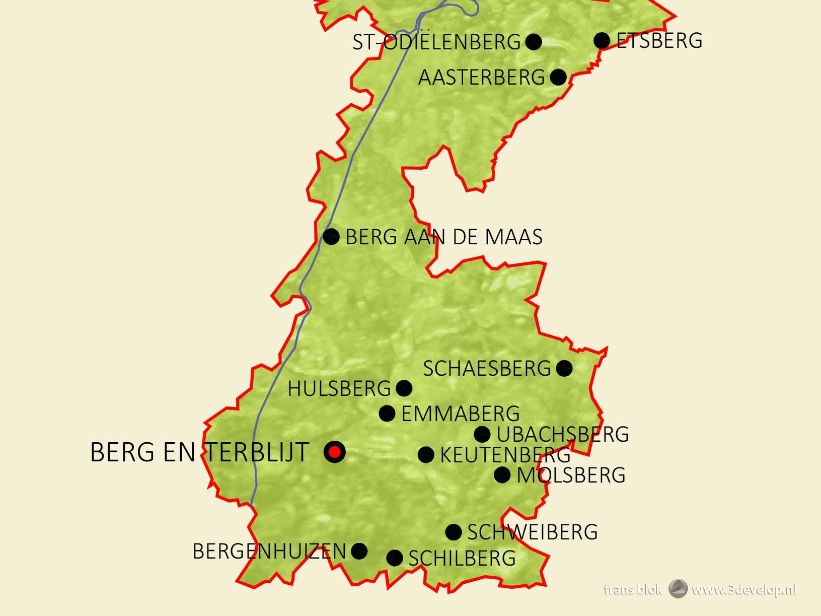 "Part of the mountain map of the Netherlands showing place names containing ""berg"" (mountain) in the province of Limburg"