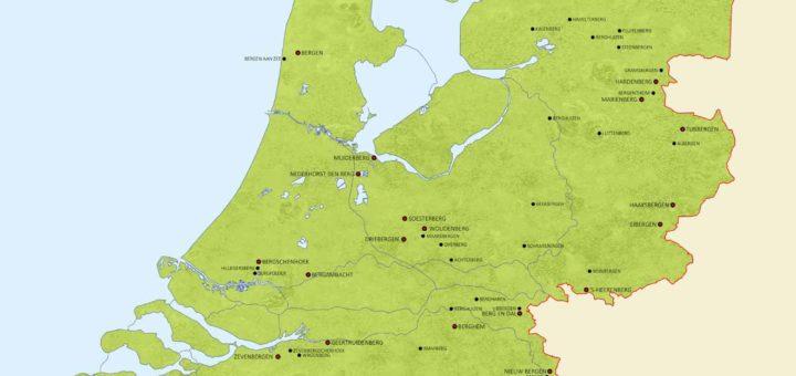 Kaart van Nederland met plaatsnamen van alle 72 steden, dorpen en gehuchten met het woord berg erin.
