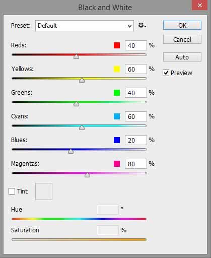 Screenshot of the black and white adjustment window in Photoshop