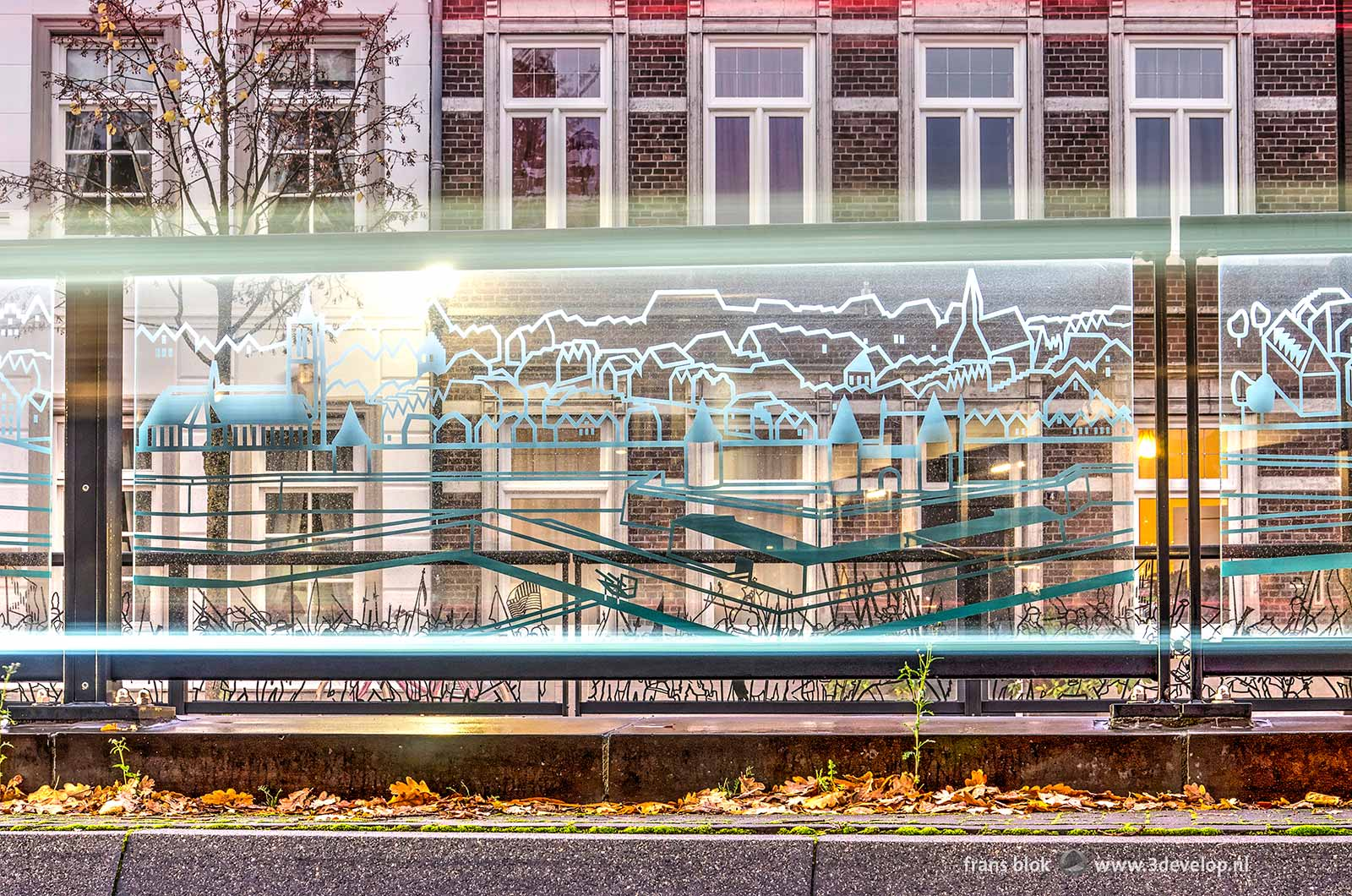 Detail of a glass panel with a print of the historic fortifications at Koninginneplein in Venlo, The Netherlands