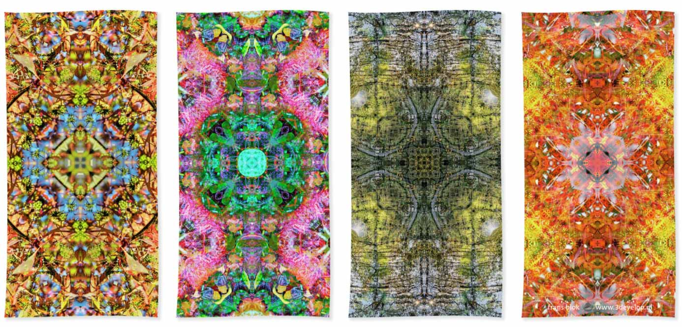 Four beach towels with colorful harmonious symmetric kaleidoscopic patterns printed on them
