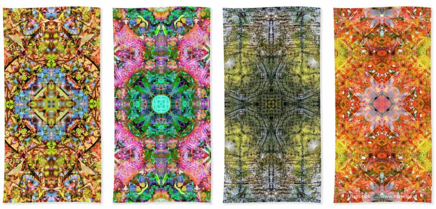 Vier strandlakens met kleurrijke harmonieuze symmetrische patronen er op geprint