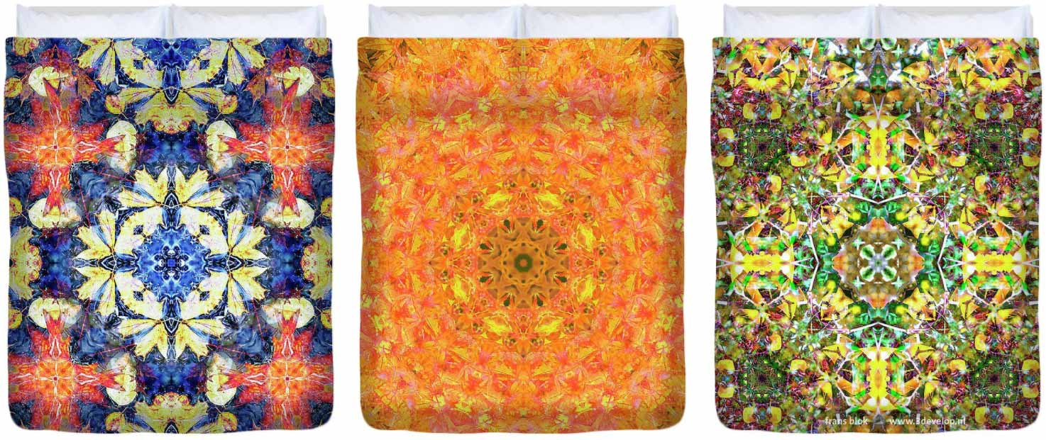 Three duvet covers with colorful harmonious symmetric kaleidoscopic patterns printed on them