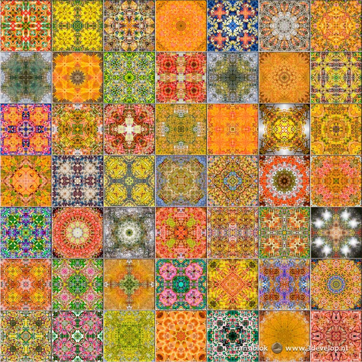 49 veelkleurige caleidoscopische patronen als tegels in een muur