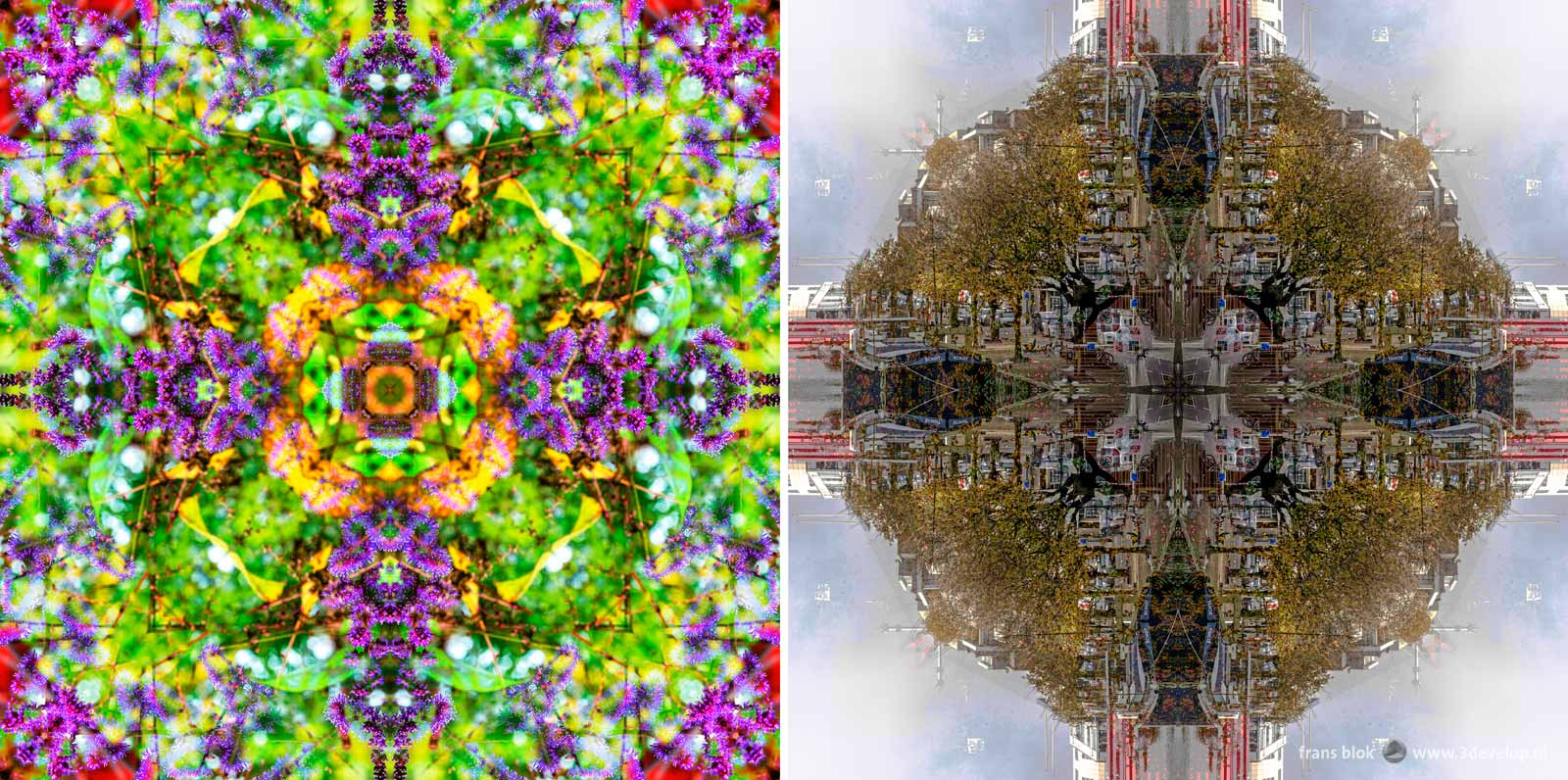 Two examples of a kaleidoscopy: a symmetric pattern made by copying, mirroring and rotating a photgraph in Photoshop