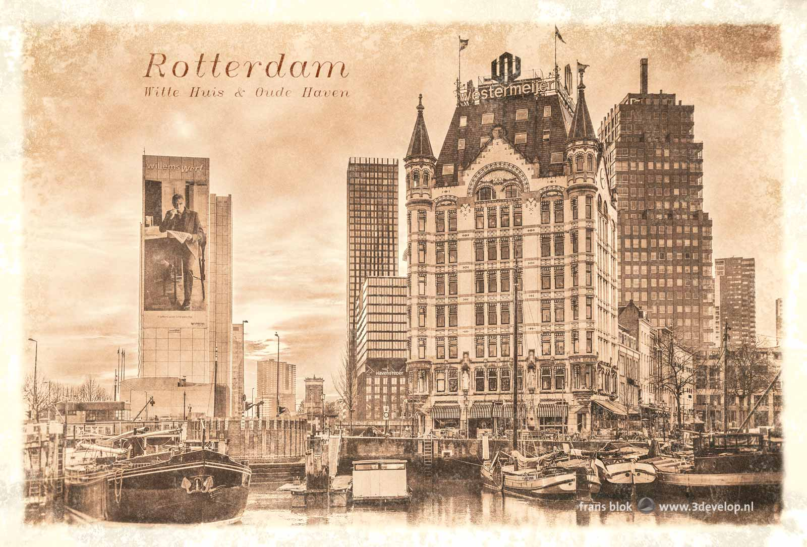 """Old"" vintage postcard, or rather a digitally aged recent photo of the White House and the Old Harbour in Rotterdam"