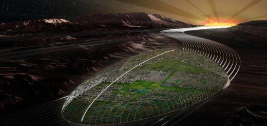 Artist impression van Terminator, de rijdende stad op Mercurius uit de science fiction-roman 2312 van Kim Stanley Robinson.