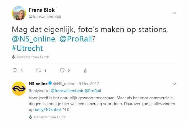 Screenshot van een conversatie op Twitter tussen de auteur en de Nederlandse Spoorwegen over fotograferen op stations