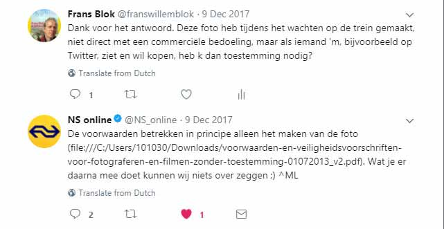 Screenshot of a Twitter conversation between the author and Dutch Railways about commercial use of photos made on railway stations