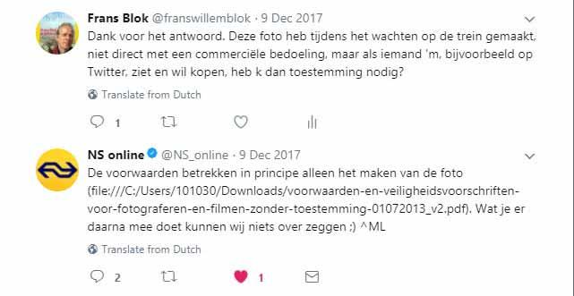 Screenshot van een conversatie op Twitter tussen de auteur en de Nederlandse Spoorwegen over commercieel gebruik van op stations gemaakte foto's