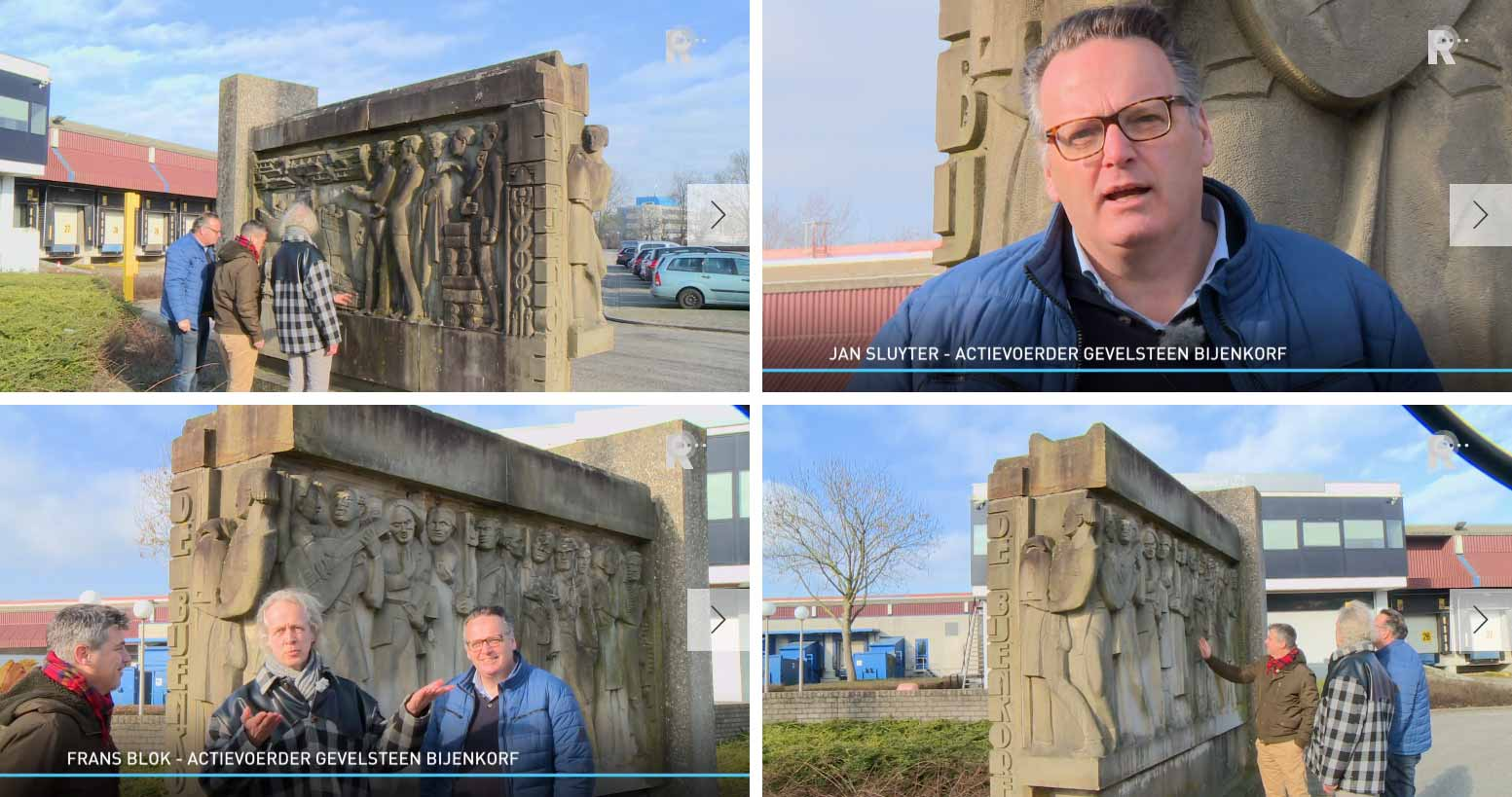 Screenshots of the interview by RTV Rijnmond with the campaigners for the return of the facade sculpture of the old Bijenkorf to Rotterdam