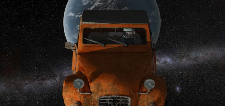 An old and rustyCitroën Deux Chevaux, launched with a Falcon Heavy rocket by SpaceX, en route to Mars
