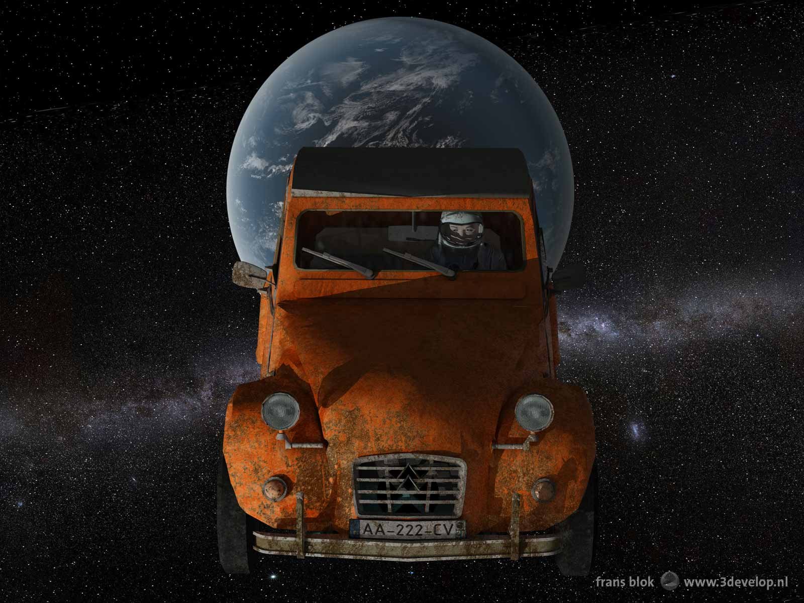 An old and rusty Citroën Deux Chevaux, launched with a Falcon Heavy rocket by SpaceX, en route to Mars