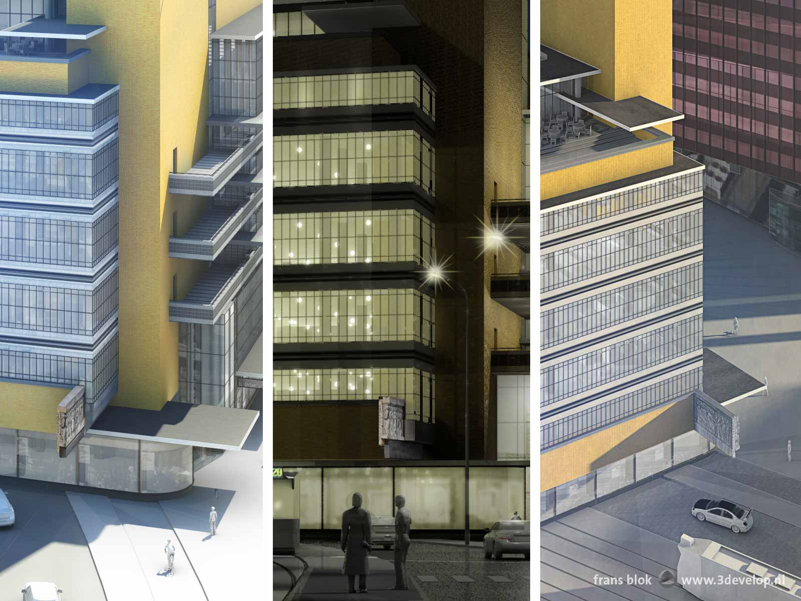 Details from three artist impressions of the old Bijenkorf department store by architect Dudok, showing the location of the famous face sculpture