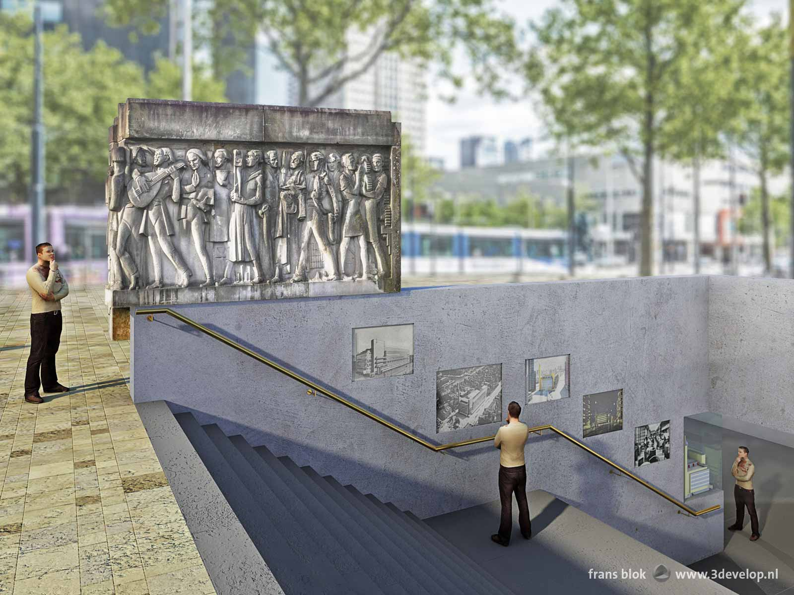 Proposal for the integration of the facade sculpture from the old Bijenkorf store by W.M. Dudok in a new entrance to Beurs metro station in Rotterdam, The Netherlands