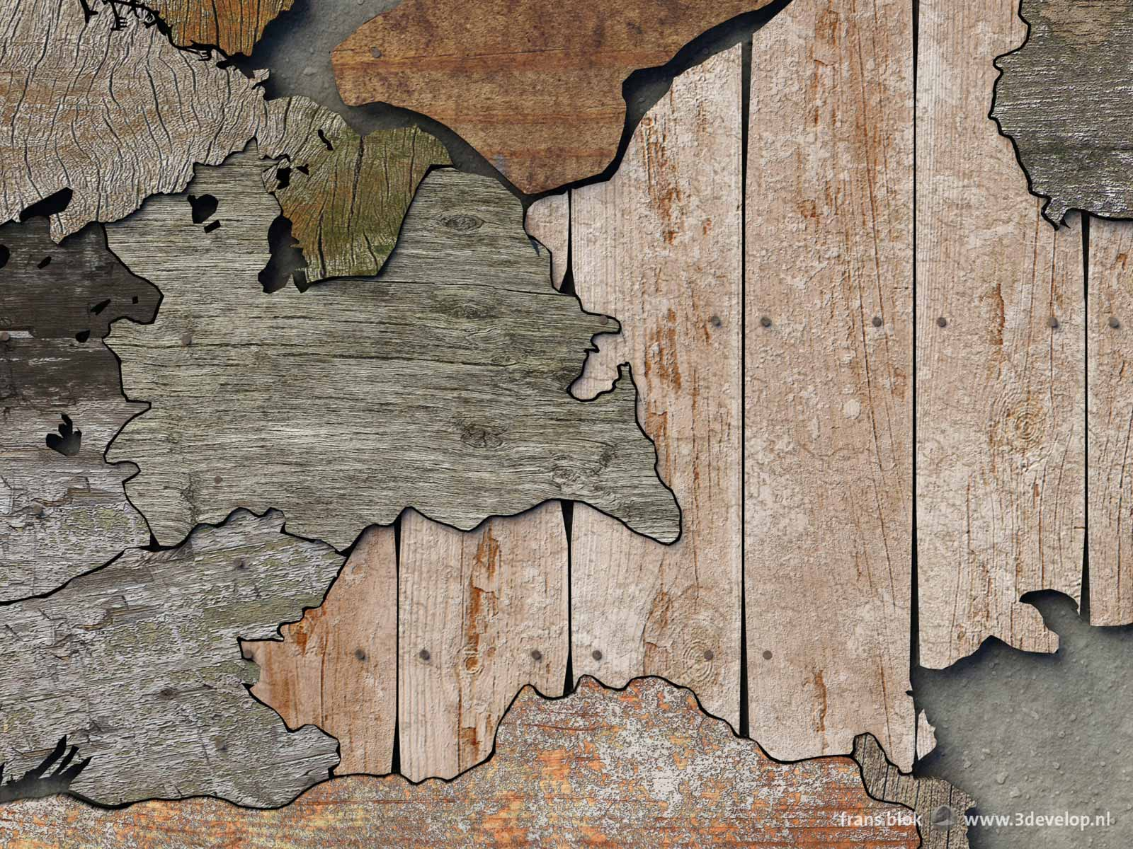 Detail of a map of the provinces of the Netherlands made of digital scrapwood, including Gelderland, Utrecht and surrounding areas