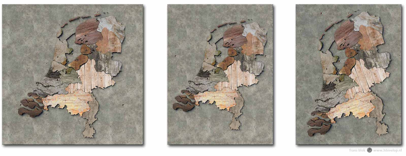 Three different crops of a map of the Netherlands with the provinces done in various pieces of scrapwood: square, portrait and rotated