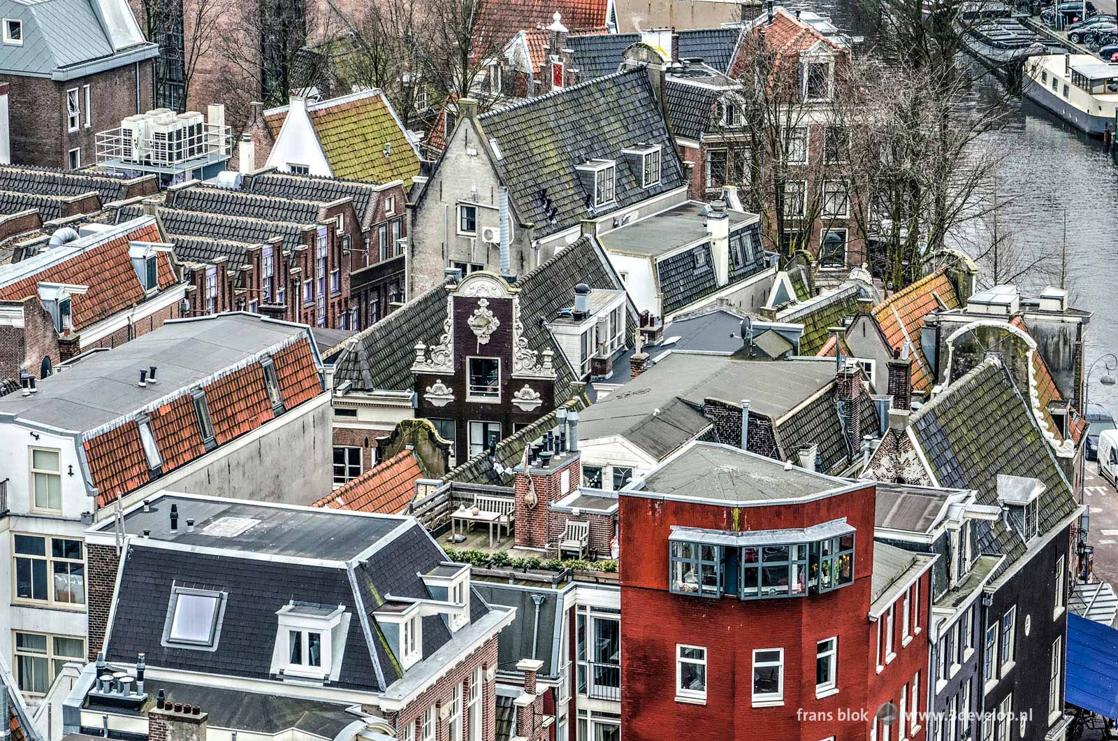 Rooftops and terraces in downtown Amsterdam on the corner of Singel and Prins Hendrikkade