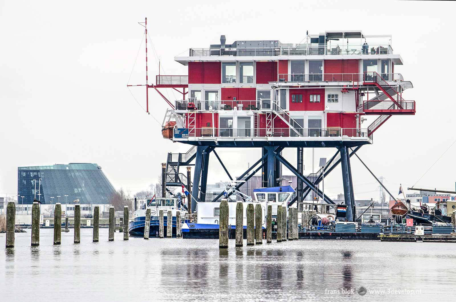 Former drilling platform and pirate station REM island, now docked in Houthavens in Amsterdam and used as a restaurant