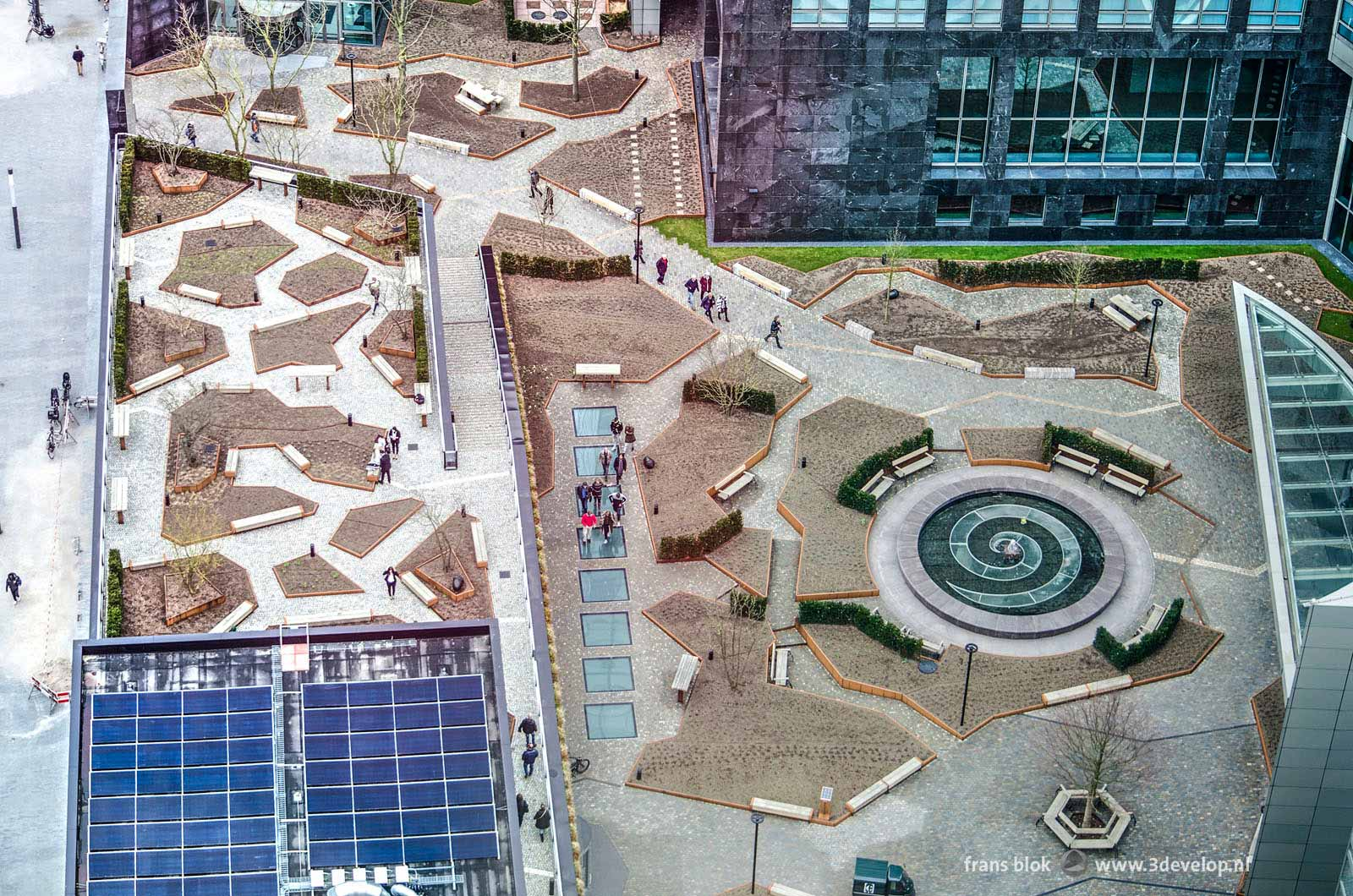 Top view of the public space around the ABN Amro building in the Zuidas district in Amsterdam
