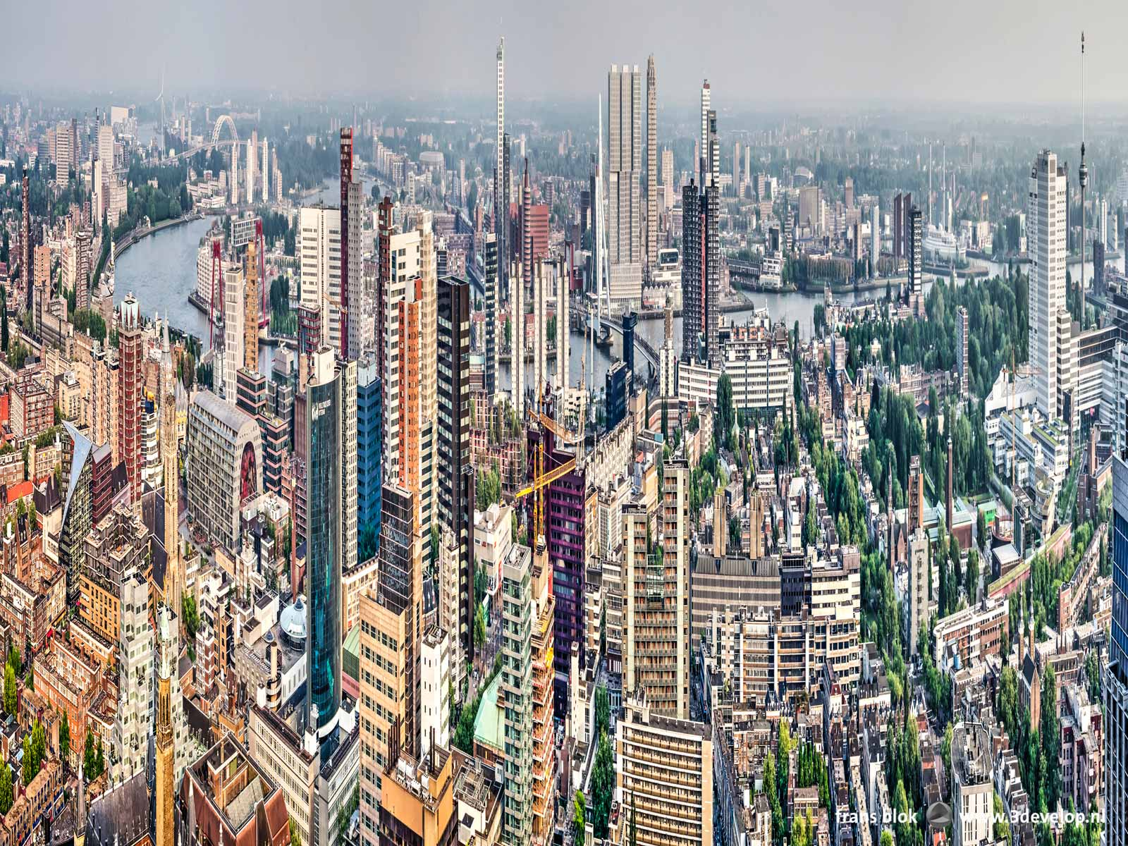 Stretched panorama of downtown Rotterdam, resulting in a Hong Kong-like image