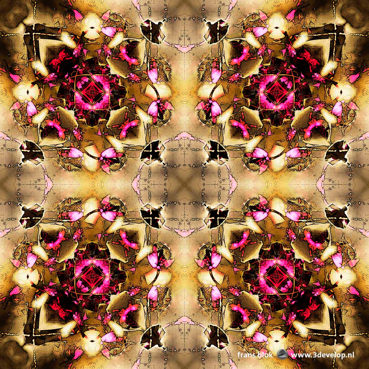 A kaleidoscopic, symmetric, abstract image in brown and purple hues, based on a photograph of a flowering cherry tree in springtime