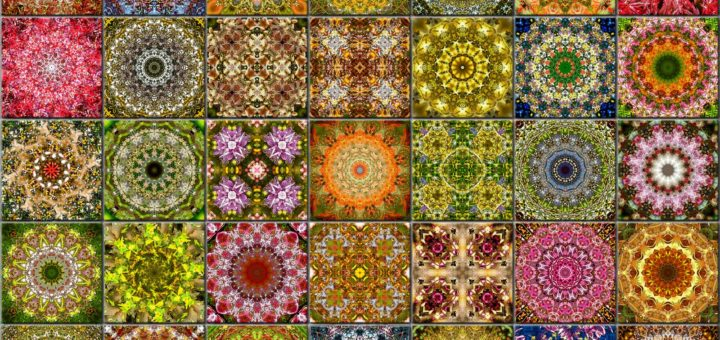 Wall with 35 ceramic tiles with kaleidoscopic patterns in spring colors
