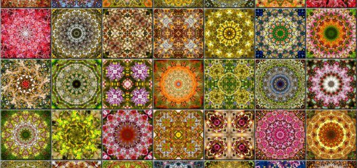 Tegelwerk met 35 caleidoscopische patronen in lentekleuren