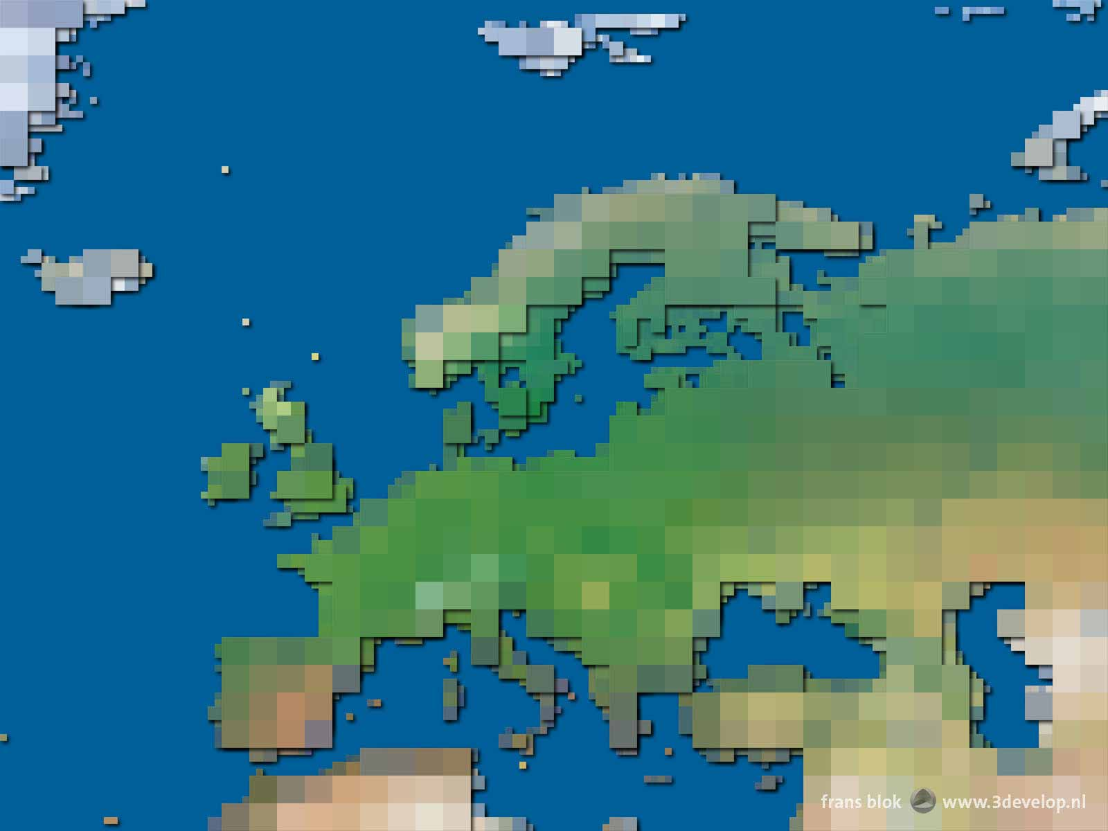 The block map of Europe, a colorful, abstract and yet realistic map of the continent and the surrounding seas